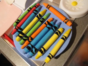 Drying the crayons